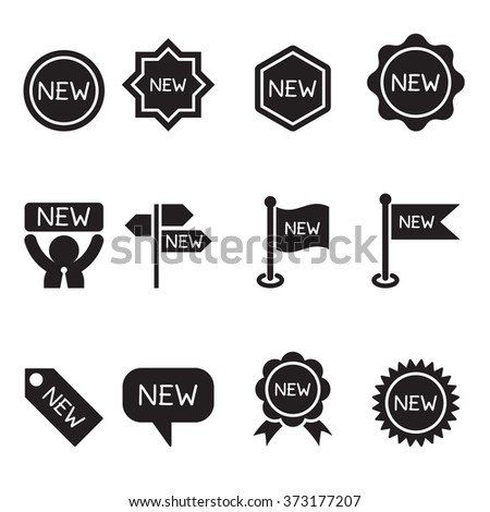 New label and sticker icon set - stock vector