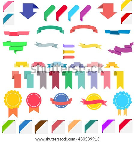 New labels and ribbons set. Vector flat style illustration. - stock vector