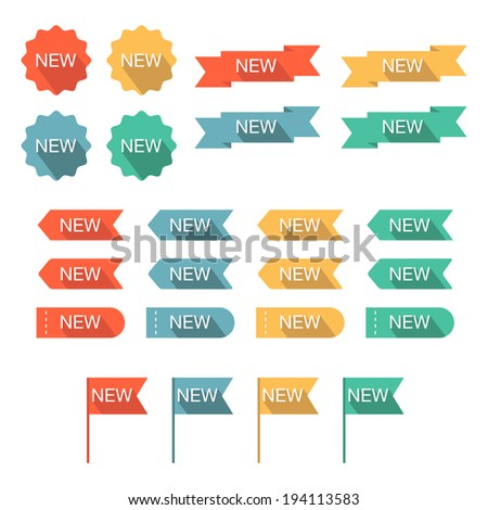 New labels set. Flat design with long shadow. Vector illustration - stock vector