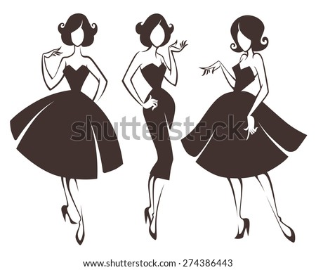 new look girls, vector collection of girls in retro style - stock vector