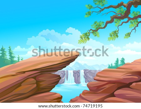 NEW - MAGNIFICENT ROCKS AND WATERFALL - stock vector