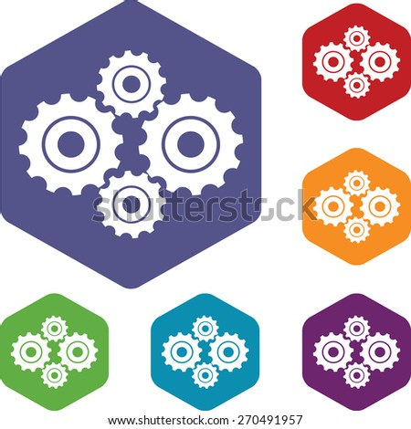 New mechanism rhombus icons set in different colors. Vector Illustration - stock vector