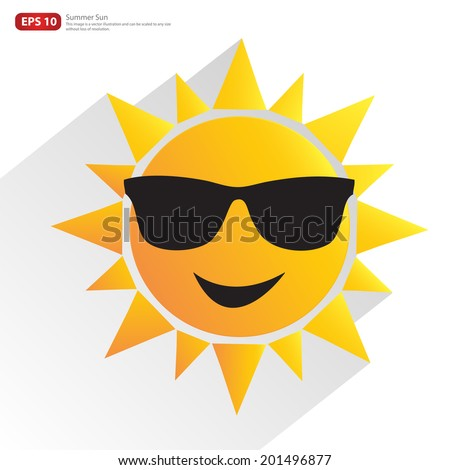 New men orange sun with glasses and shadow vector summer design - stock vector