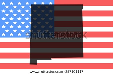 New Mexico map on a vintage american flag background - stock vector