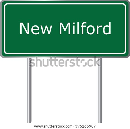 New Milford , Connecticut , road sign green vector illustration, road table, USA city - stock vector