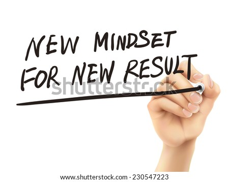 new mindset for new results words written by hand on a transparent board - stock vector