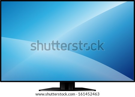 new model flat TV with a large blank screen on a stand - stock vector