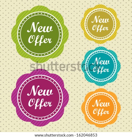 New offer stickers with colorful circle on vintage style background vector illustration. - stock vector
