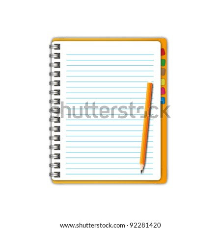 New open page with pencil and bookmarks. - stock vector