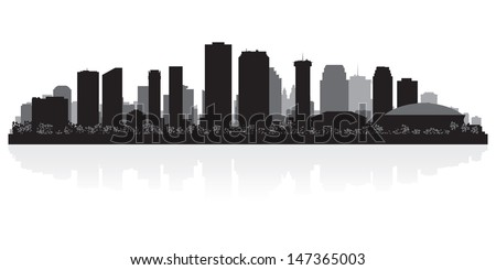 New Orleans USA city skyline silhouette vector illustration - stock vector