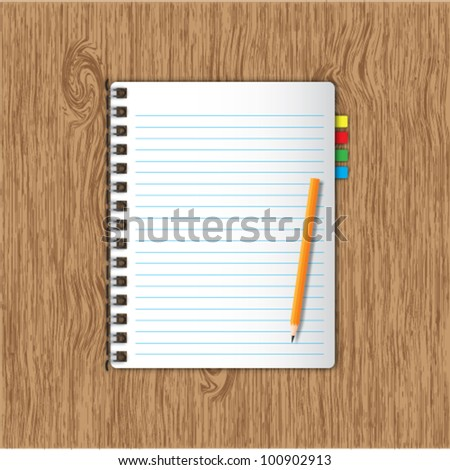 New page notebook and bookmarks ,pencil on wooden background. - stock vector