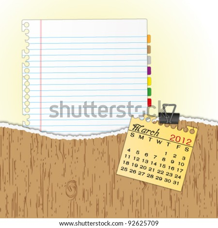 New paper sheet in rip wood folder and hold  2012 calendar March by paper clip. - stock vector