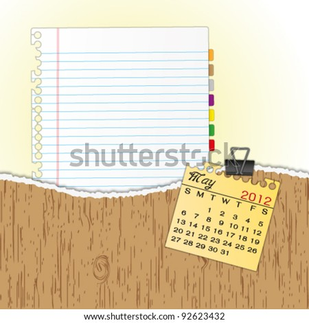 New paper sheet in rip wood folder and hold  2012 calendar May by paper clip. - stock vector