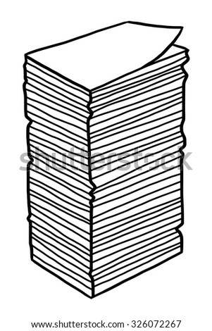 new paper stack / cartoon vector and illustration, black and white, hand drawn, sketch style, isolated on white background. - stock vector