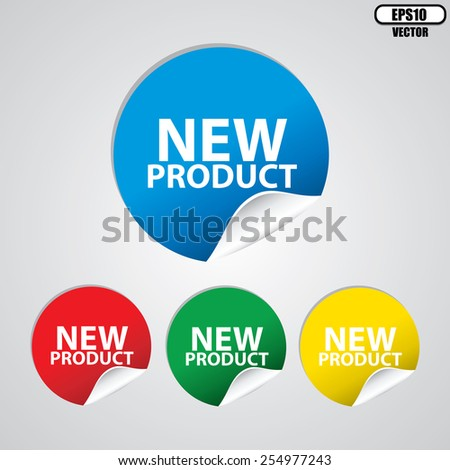 New product colorful sign, icon, label, sticker and tag set. Special offer symbol - Vector  - stock vector