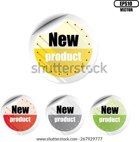 New Product Colorful Stickers And Labels. - stock vector
