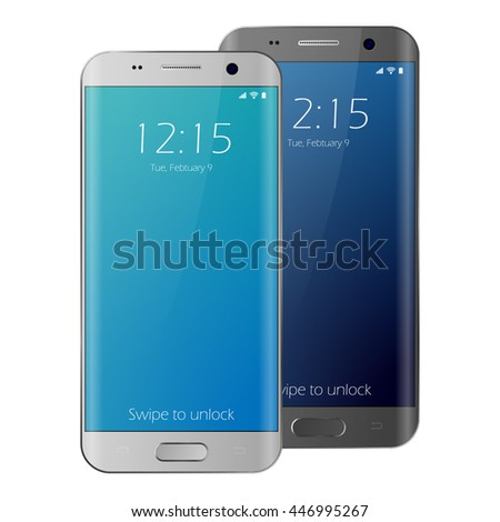 New realistic mobile phone smartphone collection mockups with blank screen. Smartphone isolated on white background. Vector illustration cell phone. Samsung galaxy edge style smartphone. Cellphone. - stock vector