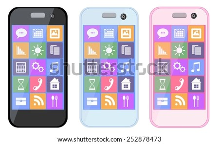 New realistic mobile phone smartphone collection with icons screen isolated on white background. Vector illustration. for printing and web element, Game and application mockup. - stock vector