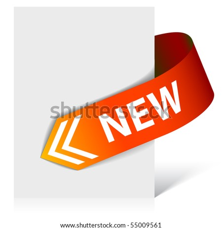 New red corner ribbon - arrow pointing at the content (vector) - stock vector