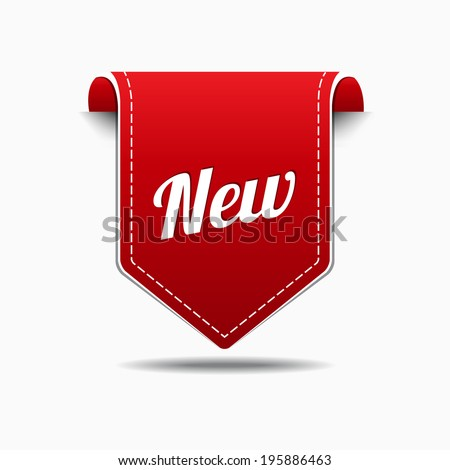 New Red Label Icon Vector Design - stock vector