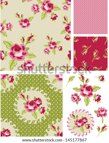 New Rose Floral Vector Seamless Patterns. Use as fills, digital paper, or print off onto fabric to create unique items. - stock vector