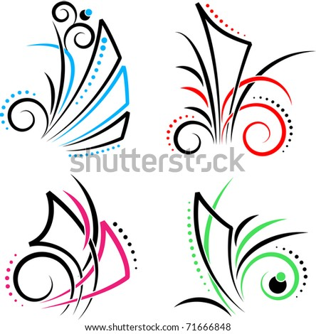 New Set of Floral decoration of different colors - stock vector