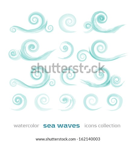 new set of sea waves symbols isolated on white background can use like watercolor icons - stock vector