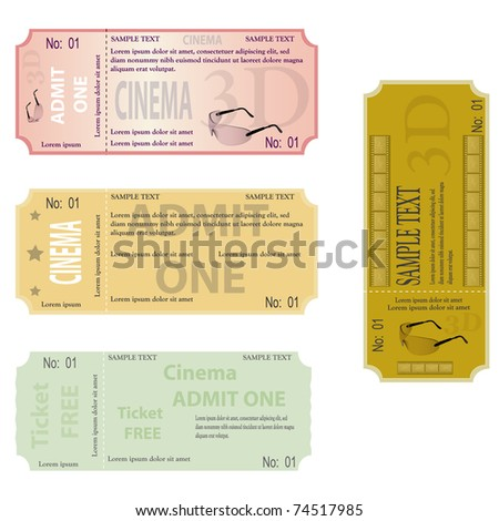 new set of ticket admit one vector - stock vector