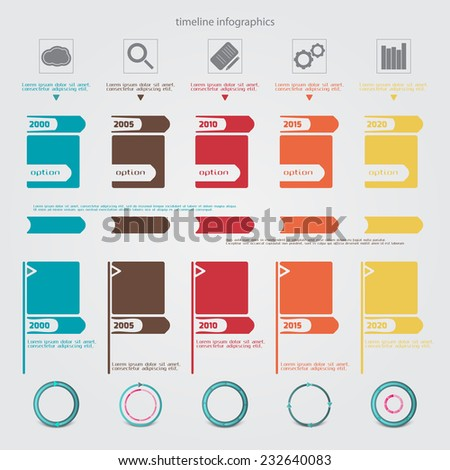 new set of timeline infographic icons. vector graphic design - stock vector