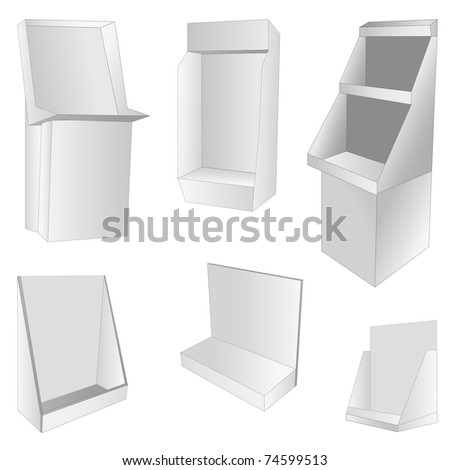 new set of 6 white display. vector illustration - stock vector