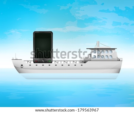 new smart phone on freighter deck transportation vector concept illustration - stock vector