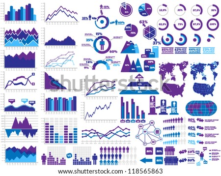 NEW STYLE WEB ELEMENTS INFOGRAPHIC DEMOGRAPHIC PURPLE - stock vector