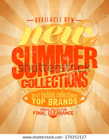 New summer fashion collections retro design. Eps10 - stock vector