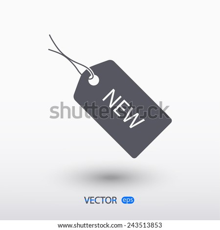 NEW tag icon, vector illustration. Flat design style  - stock vector