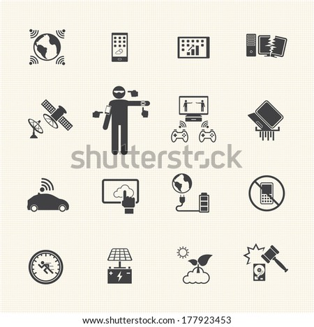 New Technology Trends icons set. Vector flat design for Infographic. - stock vector