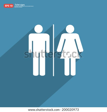 New toilet sign men and woman with shadow on blue vintage vector design - stock vector