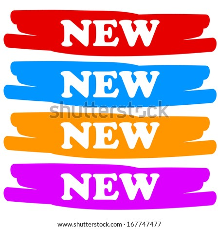 New vector labels on a white background - stock vector