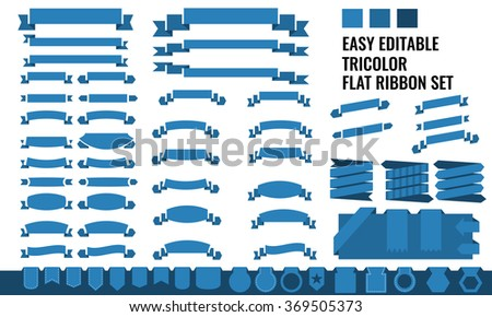 New vector set of tricolor, flat, long and short ribbon banner, price tag collection - stock vector