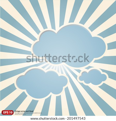 New vector Vintage blue rising sun or sun ray,sun burst with cloud retro design - stock vector