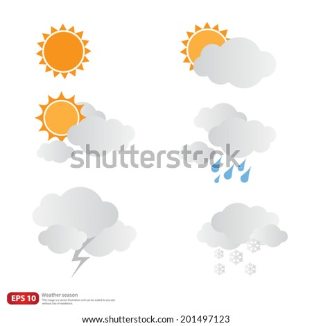 New vector weather season design, sun with clouds and snow  - stock vector