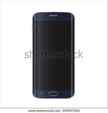 New version of modern smartphone with blank black screen.  Vector eps 10  - stock vector
