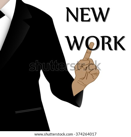 New work on virtual screen touch by business man - stock vector