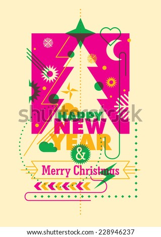 New Year and christmas card design in color. Vector illustration. - stock vector