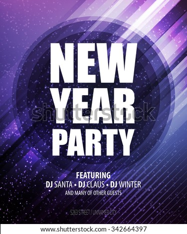 New year and Christmas party poster template. Vector illustration EPS10 - stock vector