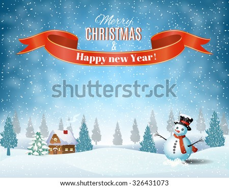New year and Christmas winter landscape background with snowman. Vector illustration. - stock vector