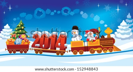 New Year 2014 and Santa Claus in a toy train with gifts, snowman and christmas tree.  - stock vector