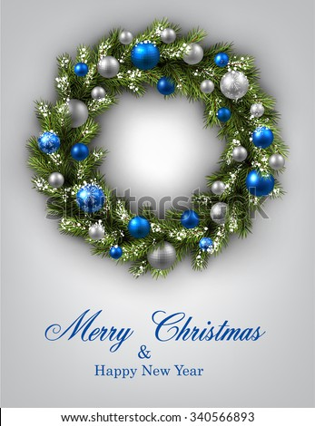 New Year and xmas card with Christmas wreath. Vector illustration. - stock vector