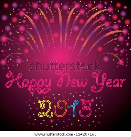 New Year background abstract with fireworks - stock vector