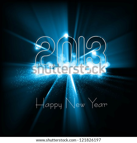 New year 2013 background for shiny swirl blue wave colorful vector design - stock vector