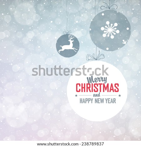 New Year Background  with Falling Snow - stock vector